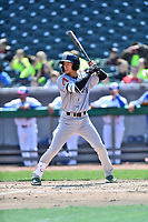 Jackson Generals shortstop Galli Cribs (2) awaits a pitch during a game against the Tennessee Smokies at Smokies Stadium on April 11, 2018 in Kodak, Tennessee. The Generals defeated the Smokies 6-4. (Tony Farlow/Four Seam Images)