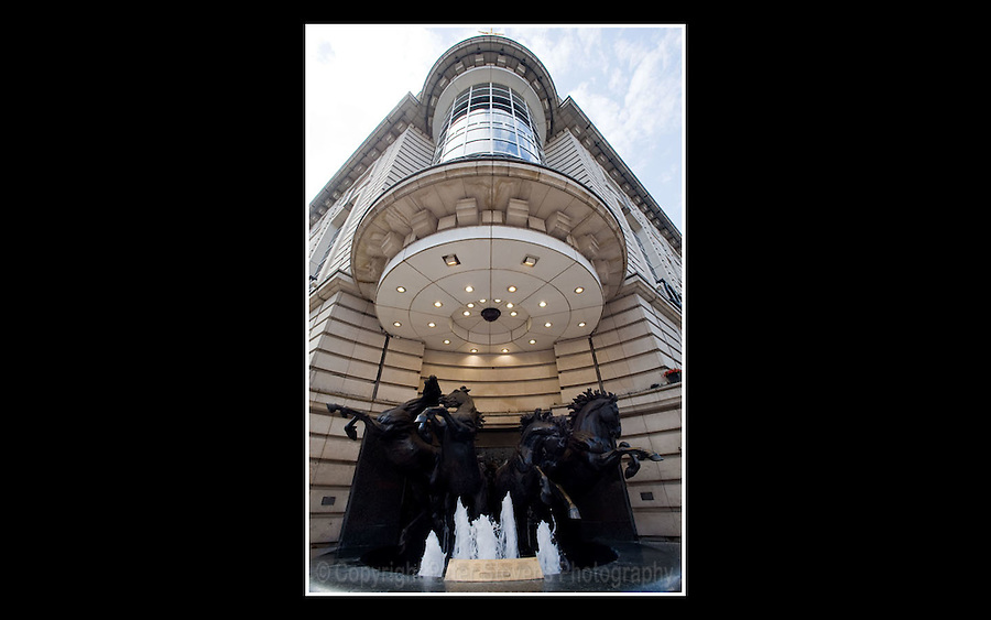 The Four Bronze Horses of Helios (Pyrois, Eos, Aethon and Phlegon) - Created by sculptor Rudy Weller in 1992 - Located at the corner of Piccadilly Circus and The Haymarket - 12th June 2008 - <br /> <br /> The Greek legend is that of Helios (son of Hyperion and Theia) the young Greek god of the sun. The son of Helios, Phaëton, fails to control the four horses that pull the sun chariot across the sky, endangering the Earth, and is killed by a thunderbolt from Zeus.