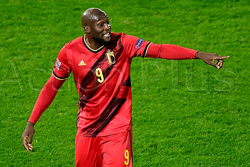 15th November 2020; Leuven, Belgium;   Romelu Lukaku forward of Belgium pictured during the UEFA Nations League match group stage final tournament - League A - Group 2 between Belgium and England