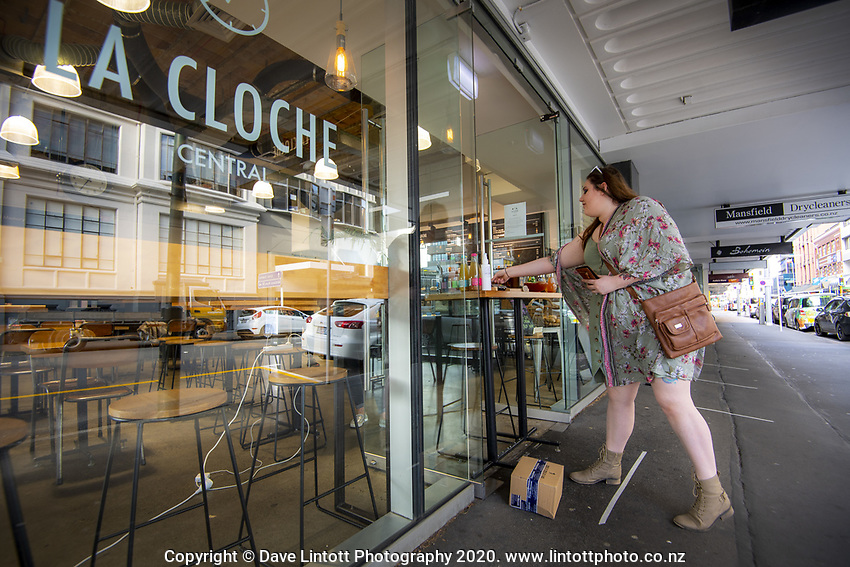 La Cloche cafe on Featherston Street at 9am, Friday during Level 3 lockdown for the COVID-19 pandemic in Wellington, New Zealand on Friday, 1 May 2020. Photo: Dave Lintott / lintottphoto.co.nz