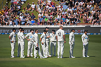 The Black Caps watch a review of Kyle Jamieson's unsuccessful appeal for a hat-trick wicket during day two of the second International Test Cricket match between the New Zealand Black Caps and West Indies at the Basin Reserve in Wellington, New Zealand on Friday, 11 December 2020. Photo: Dave Lintott / lintottphoto.co.nz