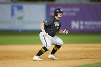 Brady Garrison (35) (Marshall University) of the Wilson Tobs takes his lead off of second base against the High Point-Thomasville HiToms at Finch Field on July 17, 2020 in Thomasville, NC. The Tobs defeated the HiToms 2-1. (Brian Westerholt/Four Seam Images)