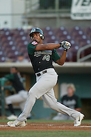 Nelson Cruz of the Modesto Athletics bats during a 2004 season California League game against the Island Empires 66ers at San Manuel Stadium in San Bernardino, California. (Larry Goren/Four Seam Images)