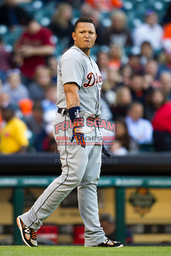 Detroit Tigers third baseman Miguel Cabrera (24) after striking out in the first inning of the MLB baseball game against the Houston Astros on May 3, 2013 at Minute Maid Park in Houston, Texas. Detroit defeated Houston 4-3. (Andrew Woolley/Four Seam Images).