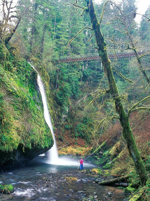 Drift Creek Falls Bridge with two people. Oregon.