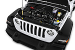 Car stock 2020 Jeep Wrangler Unlimited Sport 5 Door SUV engine high angle detail view
