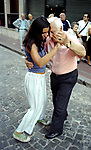 Age difference, young woman older man dancing Tango in the streets of Buenos Aires San Telmo district Argentina 2000s, 2002