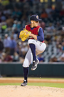 Scranton/Wilkes-Barre RailRiders relief pitcher Pat Venditte (7) in action against the Charlotte Knights at BB&T Ballpark on July 17, 2014 in Charlotte, North Carolina.  The Knights defeated the RailRiders 9-5.  (Brian Westerholt/Four Seam Images)