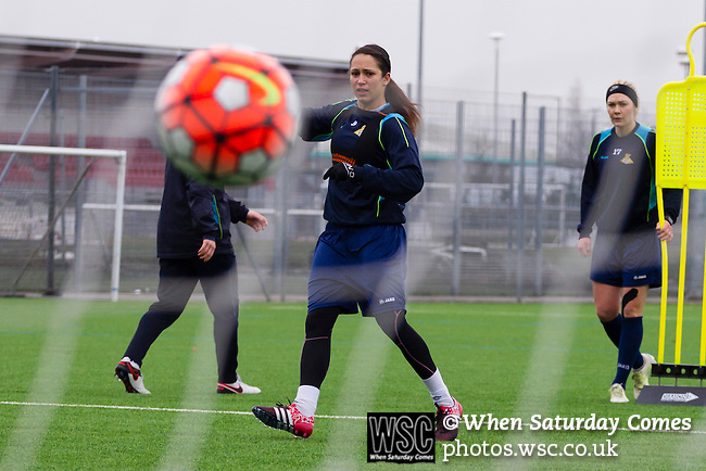 Doncaster Rovers Belles 1 Chelsea Ladies 4, 20/03/2016. Keepmoat Stadium, Womens FA Cup. Courtney Sweetman-Kirk of Doncaster Rovers Belles practices shooting during a training session on the astroturf pitch outside The Keepmoat Stadium. Photo by Paul Thompson.
