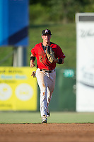 Kannapolis Intimidators center fielder Alex Call (2) jogs off the field between innings of the game against the Greensboro Grasshoppers at Intimidators Stadium on July 17, 2016 in Greensboro, North Carolina.  The Grasshoppers defeated the Intimidators 5-4 in game two of a double-header.  (Brian Westerholt/Four Seam Images)