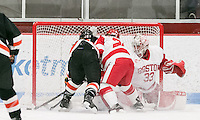 Boston, Massachusetts - November 26, 2016: NCAA Division I. In overtime, Boston University (white) defeated Princeton University (black), 4-3, at Walter Brown Arena.