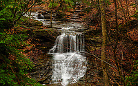 Waterfall  In Autumn In John Boyd Thatcher State Park In New York State