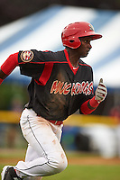 Batavia Muckdogs outfielder Galvi Moscat (27) runs to first during a game against the Mahoning Valley Scrappers on June 22, 2015 at Dwyer Stadium in Batavia, New York.  Mahoning Valley defeated Batavia 15-11.  (Mike Janes/Four Seam Images)