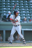 Center fielder Justin Dean (14) of the Rome Braves bats in Game 1 of a doubleheader against the Greenville Drive on Friday, August 3, 2018, at Fluor Field at the West End in Greenville, South Carolina. Rome won, 7-6. (Tom Priddy/Four Seam Images)