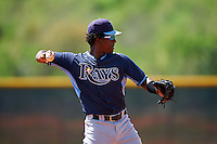 Tampa Bay Rays Adrian Rondon (3) during a minor league Spring Training intrasquad game on April 1, 2016 at Charlotte Sports Park in Port Charlotte, Florida.  (Mike Janes/Four Seam Images)