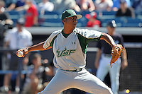 USF Bulls pitcher Devin Smith #20 delivers a pitch during a scrimmage against the New York Yankees at Steinbrenner Field on March 2, 2012 in Tampa, Florida.  New York defeated South Florida 11-0.  (Mike Janes/Four Seam Images)