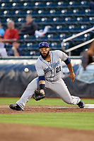 Corpus Christi Hooks first baseman Jon Singleton (21) waits to receive a throw during a game against the Springfield Cardinals on May 31, 2017 at Hammons Field in Springfield, Missouri.  Springfield defeated Corpus Christi 5-4.  (Mike Janes/Four Seam Images)
