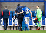 St Johnstone v Dundee…02.10.21  McDiarmid Park.    SPFL<br />Liam Craig gets a hug from Callum Davidson at full time after making his 442nd appearance for St Johnstone breaking Steven Anderson's record.<br />Picture by Graeme Hart.<br />Copyright Perthshire Picture Agency<br />Tel: 01738 623350  Mobile: 07990 594431