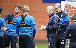 Mark Warburton with instructions for his Rangers players