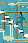 Illustrative image of businessman climbing laptops representing ladder of success
