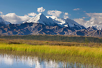 Mt Brooks of the Alaska Range reflect in a small tundra pond, Denali National Park, Interior, Alaska.