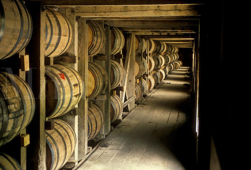 AJ4147, whiskey, Jack Daniel, distillery, cellar, Tennessee, Storage barrels inside the Jack Daniel's Distillery in Lynchburg in the state of Tennessee.