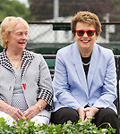 Billie Jean King and Peachy Kellmeyer (left) share a moment  at  the 2015 Induction Ceremony at the International Tennis Hall of Fame, Newport, RI USA.  The ceremony took place on July 18, 2015