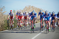 Team Katusha (with Alexander Kristoff) gets overhauled by Team Wanty - Groupe Gobert at 2015 winter training camp