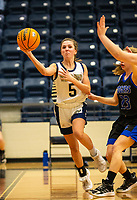Marybeth Dyson (5) of Bentonville West passes the ball across the court against Rogers at Wolverine Arena, Centerton,  AR, Tuesday, January 12, 2021 / Special to NWA Democrat-Gazette/ David Beach