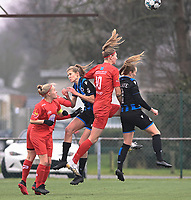 Jana Simons (8) of Woluwe pictured watching a duel with Marie Minnaert (13) of Club Brugge , Marie Bougard (10) of Woluwe and Elle Decorte (7) of Club Brugge during a female soccer game between Club Brugge Dames YLA and White Star Woluwe on the 12 th matchday of the 2020 - 2021 season of Belgian Scooore Womens Super League , saturday 30 January 2021  in Brugge , Belgium . PHOTO SPORTPIX.BE | SPP | DAVID CATRY