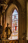 Italy, South Tyrol (Trentino - Alto Adige), Val Venosta, Castelbello-Ciardes: stained-glass window of parish church St Martin | Italien, Suedtirol (Trentino - Alto Adige), Vinschgau, Kastelbell-Tschars: Kirchenfenster der Pfarrkirche zum hl. Martin