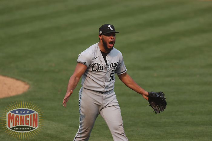 OAKLAND, CA - OCTOBER 1:  Jimmy Cordero #50 of the Chicago White Sox reacts after striking out a batter against the Oakland Athletics during Wild Card Round Game Three at the Oakland Coliseum on Thursday, October 1, 2020 in Oakland, California. (Photo by Brad Mangin)