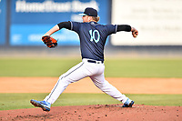 Asheville Tourists starting pitcher Tyler Brown (10) delivers a pitch during a game against the Greenville Drive on May 20, 2021 at McCormick Field in Asheville, NC. (Tony Farlow/Four Seam Images)