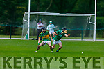 Lixnaws Mikey Kelliher and Tom Slattery of Ballyduff tussle for possession in the NK Hurling Championship game on Monday.