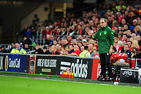 Martin O'Neill manager of Republic of Ireland shouts instructions to his team from the dug-out during the UEFA Nations League B match between Wales and Ireland at Cardiff City Stadium in Cardiff, Wales, UK.September 6, 2018
