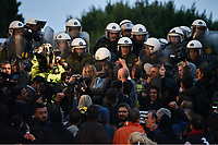 Pictured: Protesters clash with riot police officers on the steps of the Parliament Thursday 18 May 2017<br /> Re: Clashes between anti fourth memorandum protesters and riot police in front of the Parliament building in Syntagma Square, Athens, Greece