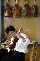 A Chinese craftsman lacquers a violin at the Shanghai Wellsound-Tianyin Violin Factory  in Shanghai, China. Started in 1992 by a family with four generations of music instruments making experience, the company exports most of its high-end and hand crafted string instruments overseas. China supplies over 90% of the world's high-end music instruments..13-SEP-04