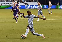 KANSAS CITY, KS - SEPTEMBER 23: #17 Gadi Kinda of Sporting Kansas City dribbles down the left side of the pitch during a game between Orlando City SC and Sporting Kansas City at Children's Mercy Park on September 23, 2020 in Kansas City, Kansas.