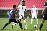 ZAPOPAN, MEXICO - MARCH 21: Andres Perea #15 of the United States plays the ball during a game between Dominican Republic and USMNT U-23 at Estadio Akron on March 21, 2021 in Zapopan, Mexico.