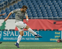 FOXBOROUGH, MA - AUGUST 7: Owen Guske #50 of Orlando City B warms up before a game between Orlando City B and New England Revolution II at Gillette Stadium on August 7, 2020 in Foxborough, Massachusetts.