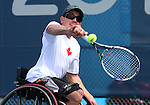 Toronto, Ontario, August 10, 2015. Joel Dembe competes in the mens wheelchair tennis during the 2015 Parapan Am Games . Photo Scott Grant/Canadian Paralympic Committee