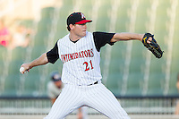 Kannapolis Intimidators starting pitcher David Putman (21) in action against the Hickory Crawdads at CMC-Northeast Stadium on May 4, 2014 in Kannapolis, North Carolina.  The Intimidators defeated the Crawdads 3-1.  (Brian Westerholt/Four Seam Images)