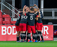 WASHINGTON, DC - APRIL 17: Brendan Hines-Ike #4 of D.C. United celebrates his goal during a game between New York City FC and D.C. United at Audi Field on April 17, 2021 in Washington, DC.