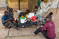 Senegal, Touba.  Sidewalk Coffee Shop.
