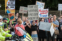 Local people protest in the village of Woodstock, Oxfordshire over the prescence of Donald Trump at Blenhein Palace during his state visit to Britain. 12-7-18