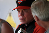 Baltimore Orioles manager Buck Showalter #26 before a game against the Los Angeles Angels at Angel Stadium on August 20, 2011 in Anaheim,California. Los Angeles defeated Baltimore 9-8.(Larry Goren/Four Seam Images)