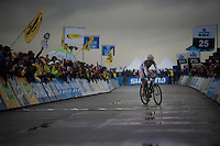 a disappointed Wout Van Aert (BEL/Vastgoedservice-Golden Palace) zigzags across the finish line in 2nd place behind Sven Nys<br /> <br /> Duinencross Koksijde WorldCup 2015