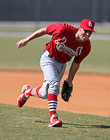 March 19, 2010:  Second Baseman Mike Folli of the St. Louis Cardinals organization during Spring Training at the Roger Dean Stadium Complex in Jupiter, FL.  Photo By Mike Janes/Four Seam Images