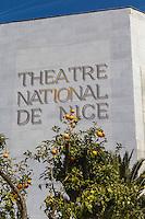 Europe/France/Provence-Alpes-Côte d'Azur/Alpes-Maritimes/Nice: Théatre national de Nice depuis la Promenade du Paillon  //   Europe, France, Provence-Alpes-Côte d'Azur, Alpes-Maritimes, Nice: Nice National Theatre from the Promenade Paillon