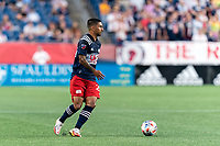 FOXBOROUGH, MA - AUGUST 18: A.J. DeLaGarza #28 of New England Revolution looks to pass during a game between D.C. United and New England Revolution at Gillette Stadium on August 18, 2021 in Foxborough, Massachusetts.